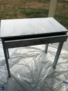 This is the desk all primed and ready to go